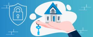 Ilustração de uma casa sobre uma mão aberta e sua chave pendurada no dedo